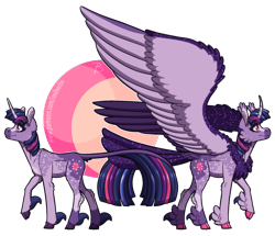 Size: 1809x1553 | Tagged: safe, artist:inuhoshi-to-darkpen, twilight sparkle, alicorn, classical unicorn, unicorn, alternate design, chest fluff, cloven hooves, colored wings, duality, ear fluff, ethereal mane, large wings, leonine tail, raised hoof, redesign, self ponidox, simple background, smiling, solo, spread wings, starry mane, tail feathers, transparent background, twilight sparkle (alicorn), unicorn twilight, unshorn fetlocks, wings