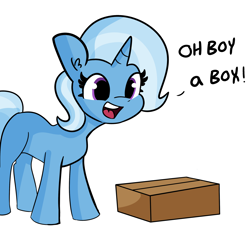 Size: 2250x2184   Tagged: safe, artist:tjpones edits, edit, trixie, pony, unicorn, cardboard box, female, mare, oh boy, simple background, solo, text, white background