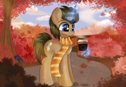 Size: 4092x2825 | Tagged: safe, artist:janelearts, doctor whooves, time turner, pony, unicorn, autumn, clothes, commission, cup, glowing horn, horn, leaves, magic, male, race swap, scarf, scenery, smiling, solo, stallion, telekinesis, tree