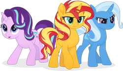 Size: 7100x4111   Tagged: safe, artist:pumpkinpieforlife, starlight glimmer, sunset shimmer, trixie, pony, unicorn, absurd resolution, female, magical trio, mare, movie accurate, simple background, transparent background, trio, vector