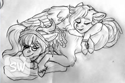 Size: 960x642   Tagged: safe, artist:silentwolf-oficial, oc, oc only, pegasus, pony, duo, eyes closed, glasses, grayscale, lineart, lying down, monochrome, pegasus oc, prone, sleeping, traditional art, watermark, wings