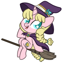 Size: 1500x1500 | Tagged: safe, artist:captshowtime, oc, oc only, oc:caramel malt, pony, unicorn, braid, broom, cape, chibi, ciderfest, clothes, con mascot, convention, convention mascot, costume, cute, hat, icon, mascot, nightmare night, ponysona, ponyville ciderfest, pvcf, simple background, solo, transparent background, witch, witch costume, witch hat