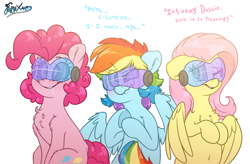 Size: 4499x2956 | Tagged: safe, artist:fluffyxai, fluttershy, pinkie pie, rainbow dash, earth pony, pegasus, pony, belly button, blushing, chest fluff, drool, female, hypnogear, hypnosis, lip bite, mare, one eye closed, simple background, sitting, smiling, struggling, swirly eyes, tech control, text, underhoof, visor, wings