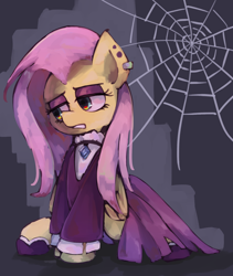 Size: 1600x1900 | Tagged: safe, artist:lexiedraw, fluttershy, pegasus, pony, fake it 'til you make it, ear piercing, female, fluttergoth, goth, mare, piercing, sitting, solo, spider web