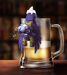 Size: 1329x1500   Tagged: safe, artist:28gooddays, oc, oc only, oc:night sky, pegasus, pony, alcohol, beer, beer mug, clothes, commission, cup of pony, cute, drunk, female, foam, micro, pegasus oc, wings, ych result
