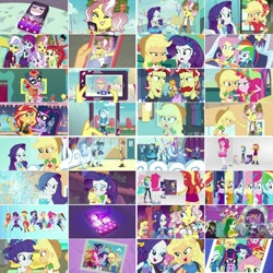 Size: 1080x1080   Tagged: safe, artist:jericollage70, edit, edited screencap, screencap, applejack, blueberry cake, bright idea, diamond tiara, flam, flim, fluttershy, microchips, mystery mint, paisley, pinkie pie, rainbow dash, rarity, rose heart, sci-twi, sophisticata, starlight, sunny flare, sunset shimmer, sweet leaf, trixie, twilight sparkle, upper crust, vignette valencia, equestria girls, equestria girls series, rollercoaster of friendship, alternative cutie mark placement, angry, applejack's hat, awesome cutie mark, blushing, boots, bracelet, caramel apple (food), cellphone, clothes, collage, converse, cowboy boots, cowboy hat, crossed arms, cute, cutie mark, cutie mark on clothes, dashabetes, denim skirt, diapinkes, facial cutie mark, flim flam brothers, food, geode of empathy, geode of fauna, geode of shielding, geode of sugar bombs, geode of super speed, geode of super strength, geode of telekinesis, glasses, hairpin, hat, headband, high heels, holding hands, hologram, hoodie, hug, humane five, humane seven, humane six, jackabetes, jacket, jewelry, laughing, leather, leather jacket, looking at each other, looking at you, magical geodes, meta, necklace, open mouth, phone, photo, photo booth, photo booth (song), pinkie being pinkie, ponied up, ponytail, raribetes, rarity peplum dress, roller coaster, salad, selfie, shimmerbetes, shoes, shyabetes, skirt, smartphone, smiling, smiling at you, smirk, smug, the rainbooms, transformation, twiabetes, twitter, twitter link, wall of tags, white room