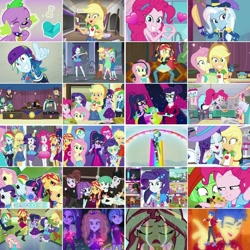 Size: 1080x1080 | Tagged: safe, artist:jericollage70, edit, edited screencap, screencap, adagio dazzle, applejack, aria blaze, cranky doodle donkey, flash sentry, fluttershy, lyra heartstrings, opalescence, pinkie pie, rainbow dash, rarity, rosette nebula, sci-twi, sonata dusk, sour persimmon, spike, spike the regular dog, sunset shimmer, tank, track starr, trixie, twilight sparkle, watermelody, cat, dog, tortoise, best in show: the pre-show, best in show: the victory lap, camping must-haves, cheer you on, diy with applejack, do it for the ponygram!, equestria girls, equestria girls series, festival filters, festival looks, find the magic, five lines you need to stand in, five stars, fomo, game stream, how to backstage, i'm on a yacht, let it rain, reboxing with spike!, run to break free, schedule swap, sic skateboard, street chic, street magic with trixie, the craft of cookies, twilight under the stars, spoiler:eqg series (season 2), angry, applejack's hat, apron, balloon, blonde hair, bone, boots, bowtie, bracelet, cafeteria, cake, canterlot high, clothes, cold, collage, converse, cookie, cowboy boots, cowboy hat, crossed arms, cute, cutie mark, cutie mark on clothes, dashabetes, denim skirt, diapinkes, disgusted, drone, eyes closed, filter, food, gamer, gamer sunset, gamershy, geode of empathy, geode of fauna, geode of shielding, geode of sugar bombs, geode of super speed, geode of super strength, geode of telekinesis, glasses, green hair, grin, hairpin, hallway, hand on hip, hat, headband, headphones, heart glasses, heart shaped, heart shaped glasses, high heels, hoodie, humane five, humane seven, humane six, jackabetes, jewelry, jumping, kitchen, looking at you, looking up, magical geodes, meta, microphone, multicolored hair, necklace, newspaper, one eye closed, peace sign, pink hair, ponied up, ponytail, psycho gamer sunset, purple hair, rain, rainbow, rainbow hair, rainbow trail, rarity peplum dress, rarity's bedroom, red hair, shimmerbetes, shoes, skateboard