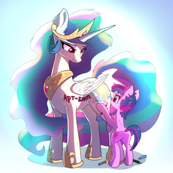 Size: 1800x1792 | Tagged: safe, alternate version, artist:xbi, princess celestia, twilight sparkle, alicorn, pony, unicorn, bodypaint, cute, cutelestia, cutie mark, cyrillic, female, filly, filly twilight sparkle, momlestia, pencil, russian, smiling, tabun art-battle cover, translated in the comments, twiabetes, wholesome, xbi is trying to murder us, younger