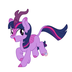 Size: 2000x2000 | Tagged: safe, artist:lovinglypromise, twilight sparkle, kirin, cute, kirin twilight, kirin-ified, looking back, open mouth, simple background, smiling, solo, species swap, transparent background, twiabetes