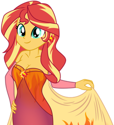 Size: 1024x1125 | Tagged: safe, artist:bakki, artist:emeraldblast63, sunset shimmer, equestria girls, breasts, busty sunset shimmer, cleavage, clothes, dress, ear piercing, earring, fall formal outfits, female, jewelry, piercing, simple background, solo, transparent background