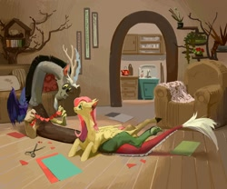 Size: 1500x1250   Tagged: safe, artist:yanisfucker, discord, fluttershy, draconequus, pegasus, pony, chair, couch, cute, duo, female, fluttershy's cottage, heart, indoors, male, mare, paper, paper doll chain, scissors, smiling