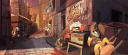 Size: 6882x3000 | Tagged: safe, artist:ignis, oc, oc only, oc:echo, oc:ember (ignis), oc:pango, oc:wyn, deer, pegasus, pony, unicorn, building, city, cobblestone street, guitar, happy birthday, musical instrument, scenery, sky, street, uwu