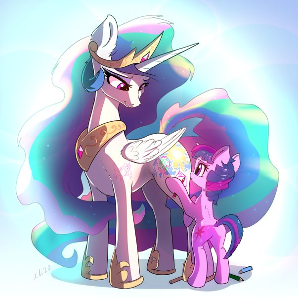 Size: 2395x2384 | Tagged: safe, artist:xbi, princess celestia, twilight sparkle, alicorn, pony, unicorn, bodypaint, butt, cute, cutelestia, cutie mark, daaaaaaaaaaaw, drawing, featured image, female, filly, filly twilight sparkle, high res, hnnng, momlestia, pencil, plot, smiling, tabun art-battle cover, twiabetes, unicorn twilight, weapons-grade cute, wholesome, xbi is trying to murder us, younger