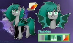 Size: 2560x1520 | Tagged: safe, artist:udara, oc, oc only, oc:obble star, bat pony, pony, bat pony oc, bat wings, cyrillic, female, looking at you, mare, reference sheet, russian, smiling, smiling at you, solo, watermark, wings