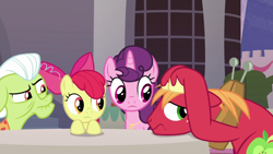 Size: 1920x1080 | Tagged: safe, screencap, apple bloom, big macintosh, granny smith, sugar belle, earth pony, pony, unicorn, the last problem, confused, female, husband and wife, male, worried