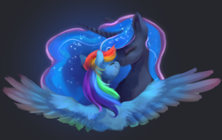 Size: 2385x1511   Tagged: safe, artist:meringuebell, princess luna, rainbow dash, alicorn, pegasus, pony, 4chan, black background, boop, bust, cute, dashabetes, eyes closed, female, happy, lesbian, lunabetes, lunadash, mare, miss /mlp/ 2020, noseboop, shipping, simple background, smiling, spread wings, wings