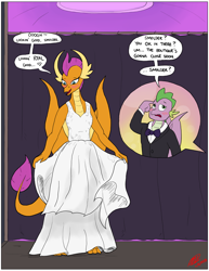 Size: 2550x3300 | Tagged: safe, artist:loreto-arts, smolder, spike, dragon, clothes, commission, dragoness, dress, female, male, older, older smolder, older spike, shipping, smolder also dresses in style, spolder, straight, that dragon sure does love dresses, toes, tomboy taming, tuxedo, wedding dress, winged spike, wings