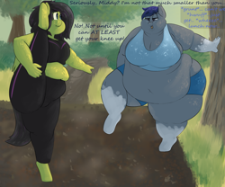 Size: 3000x2500 | Tagged: safe, artist:lupin quill, oc, oc only, oc:midnight blossom, oc:reia hope, bat pony, pegasus, anthro, unguligrade anthro, bat pony oc, bat wings, bbw, belly, belly button, big belly, big breasts, breasts, busty oc, butt, chubby, chubby cheeks, clothes, dialogue, double chin, exercise, fat, fat fetish, fetish, freckles, huge breasts, impossibly large thighs, impossibly wide hips, large butt, morbidly obese, muffin top, obese, onomatopoeia, open mouth, outdoors, panting, park, pegasus oc, rolls of fat, shorts, socks (coat markings), sports bra, ssbbw, tanktop, thighs, thunder thighs, tight clothing, tongue out, tracksuit, wide hips, wings