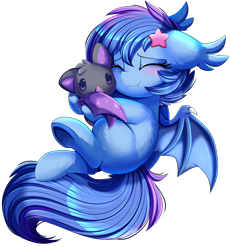 Size: 3030x3300   Tagged: safe, artist:pridark, oc, oc only, oc:astral flare, bat pony, pony, adorabetes, bat pony oc, bat wings, blushing, comic, cute, cute little fangs, eyes closed, fangs, female, flying, high res, hug, ocbetes, plushie, pridark is trying to murder us, simple background, smiling, solo, transparent background, underhoof, wings