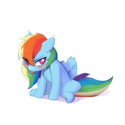Size: 1024x1024 | Tagged: safe, artist:captainpudgemuffin, rainbow dash, pegasus, pony, angry, blushing, captainpudgemuffin is trying to murder us, chest fluff, cute, dashabetes, female, grumpy, grumpy dash, madorable, pudge's pretty pouting ponies, raspberry, simple background, sitting, solo, spread wings, tongue out, tsunderainbow, tsundere, white background, wings