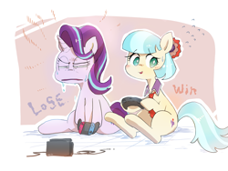 Size: 2589x1951 | Tagged: safe, artist:nendo, coco pommel, starlight glimmer, earth pony, pony, unicorn, blushing, cocobetes, cute, duo, faic, gamer coco, nintendo switch, playing, squint, starlight glimmer is best facemaker, sweat