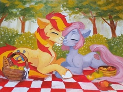 Size: 1080x812   Tagged: safe, artist:sofiko-ko, oc, oc only, earth pony, pony, apple, basket, blanket, bread, chest fluff, commission, eyes closed, female, food, forest, male, mare, nuzzling, oil painting, picnic, picnic basket, picnic blanket, shipping, smiling, stallion, straight, traditional art