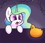 Size: 1303x1250 | Tagged: safe, artist:handgunboi, princess celestia, bird, duck, pony, christmas, christmas lights, cute, cutelestia, gold, holiday