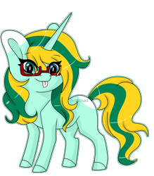 Size: 4577x5213 | Tagged: safe, artist:kireiinaa, oc, oc only, oc:washie evergreen, pony, unicorn, absurd resolution, chibi, female, glasses, mare, simple background, solo, tongue out, transparent background
