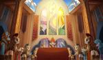Size: 3600x2100 | Tagged: safe, artist:emeraldgalaxy, flash magnus, meadowbrook, mistmane, philomena, princess celestia, princess luna, rockhoof, somnambula, star swirl the bearded, stygian, alicorn, earth pony, pegasus, phoenix, pony, unicorn, coronation, female, filly, male, pillars of equestria, royal guard, stained glass