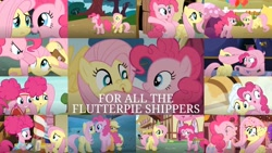 Size: 1280x721 | Tagged: safe, artist:quoterific, edit, edited screencap, screencap, applejack, fluttershy, pinkie pie, earth pony, pegasus, pony, bats!, buckball season, dragonshy, filli vanilli, party of one, party pooped, putting your hoof down, scare master, the one where pinkie pie knows, the super speedy cider squeezy 6000, too many pinkie pies, balloon, confetti, female, implied shipping, mare, pinkie puffs, pinktails pie
