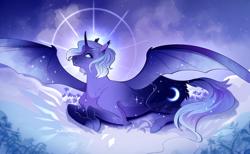Size: 2500x1538 | Tagged: safe, artist:pumpkabooo, princess luna, pony, lying down, prone, solo