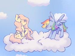 Size: 1024x767 | Tagged: safe, artist:spookysuvi, fluttershy, rainbow dash, cloud, cute