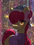 Size: 2606x3418 | Tagged: safe, artist:skitsniga, apple bloom, earth pony, pony, clothes, earmuffs, eye clipping through hair, eyebrows visible through hair, female, hat, looking at you, snow, solo, sweater, winter, winter outfit