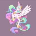 Size: 2048x2048 | Tagged: safe, artist:drtuo4, princess celestia, alicorn, pony, crown, female, flying, high res, hoof shoes, jewelry, looking up, mare, purple background, regalia, simple background, solo, spread wings, wings