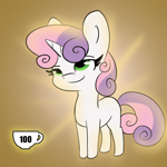 Size: 3000x3000 | Tagged: safe, artist:tjpones, sweetie belle, pony, unicorn, blank flank, caffeine, coffee, female, filly, futurama, mare, reference, smiling, smirk, smug, solo