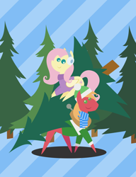 Size: 1656x2160 | Tagged: safe, anonymous artist, big macintosh, fluttershy, earth pony, pegasus, pony, series:fm holidays, series:hearth's warming advent calendar, advent calendar, christmas, christmas tree, clothes, earmuffs, female, fluttermac, hat, holiday, lineless, looking at you, lying down, male, pointy ponies, scarf, shipping, straight, sweater, tree, turtleneck, winter clothes