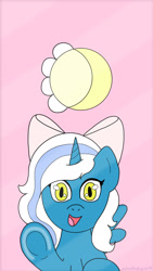 Size: 1080x1920 | Tagged: safe, artist:justanotherfangirlst, oc, oc only, oc:fleurbelle, alicorn, alicorn oc, bow, female, hair bow, horn, lockscreen, looking at you, mare, screen, solo, wingding eyes, wings, yellow eyes