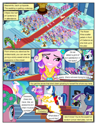 Size: 612x792 | Tagged: safe, artist:newbiespud, edit, edited screencap, screencap, night light, princess cadance, princess celestia, queen chrysalis, rarity, shining armor, twilight velvet, alicorn, pony, unicorn, comic:friendship is dragons, a canterlot wedding, background pony audience, clothes, comic, dialogue, disguise, disguised changeling, fake cadance, female, floral head wreath, flower, grin, male, mare, screencap comic, smiling, stallion