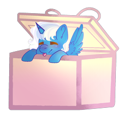 Size: 1184x1124 | Tagged: safe, artist:vintageandwitchy, oc, oc:fleurbelle, alicorn, pony, alicorn oc, blushing, box, ear fluff, female, horn, mare, pony in a box, present, simple background, tongue out, transparent background, wings