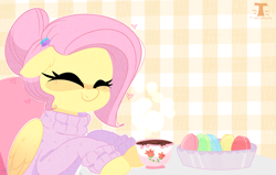 Size: 2951x1876   Tagged: safe, artist:t-whiskers, fluttershy, pegasus, pony, alternate hairstyle, blushing, chocolate, clothes, cute, eyes closed, female, floppy ears, food, hair bun, heart, herbivore, hot chocolate, macaron, mare, shyabetes, smiling, solo, sweater, sweatershy