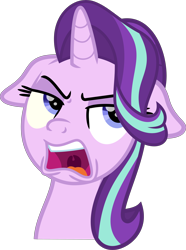 Size: 6566x8811 | Tagged: safe, artist:thatusualguy06, starlight glimmer, pony, unicorn, a horse shoe-in, .svg available, absurd resolution, bust, female, floppy ears, mare, raised eyebrow, simple background, solo, starlight is not amused, svg, transparent background, unamused, uvula, vector