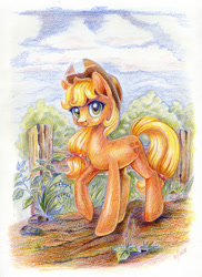 Size: 872x1200 | Tagged: safe, artist:maytee, applejack, earth pony, pony, colored pencil drawing, female, fence, looking at you, mare, raised hoof, solo, traditional art