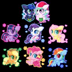 Size: 1024x1024 | Tagged: safe, artist:sunshineshiny, applejack, fluttershy, pinkie pie, princess celestia, princess luna, rainbow dash, rarity, twilight sparkle, alicorn, earth pony, pegasus, pony, unicorn, blushing, bow, candy, candy cane, cheek fluff, chibi, christmas, colored pupils, food, hair accessory, hair bow, hat, heart, heart eyes, holiday, mane six, open mouth, present, royal sisters, santa hat, simple background, sisters, smiling, snow, snow globe, snowflake, transparent background, twilight sparkle (alicorn), wingding eyes