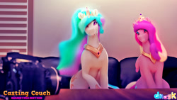 Size: 1728x972   Tagged: safe, artist:dragk, princess cadance, princess celestia, alicorn, pony, 3d, aunt and niece, camera, casting couch, couch, crown, female, jewelry, logo, mare, regalia, teaser