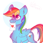 Size: 768x768 | Tagged: safe, artist:valkiria, rainbow dash, pegasus, pony, cute, dashabetes, female, heart, mare, paper, solo, wings