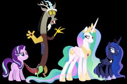 Size: 9706x6457 | Tagged: safe, artist:cirillaq, discord, princess celestia, princess luna, starlight glimmer, draconequus, pony, absurd resolution, male, simple background, transparent background, vector