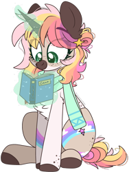 Size: 1617x2155 | Tagged: safe, artist:cinnamontee, oc, oc only, oc:pastella, pony, unicorn, book, chest fluff, clothes, commission, eye clipping through hair, female, freckles, glowing horn, horn, magic, mare, scarf, simple background, sitting, smiling, solo, telekinesis, transparent background
