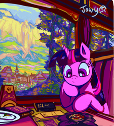 Size: 2527x2808 | Tagged: safe, artist:jowybean, twilight sparkle, alicorn, pony, amulet, book, female, high res, house, jewelry, mare, mountain, paper, scenery, sitting, solo, twilight sparkle (alicorn)