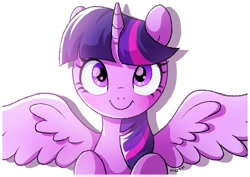 Size: 1457x1032 | Tagged: safe, artist:mochi_nation, twilight sparkle, alicorn, pony, bust, cute, female, looking at you, mare, portrait, simple background, smiling, solo, spread wings, twiabetes, twilight sparkle (alicorn), white background, wings