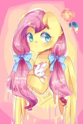 Size: 900x1350   Tagged: safe, artist:cheerymoon2017, angel bunny, fluttershy, pegasus, pony, rabbit, animal, bow, bust, cute, duo, ear fluff, female, hair bow, male, mare, pigtails, shyabetes, twintails